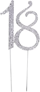 OULII Birthday Number Cake Topper Anniversary Crystal Rhinestones Decorative Cupcake Topper for 18th Birthday Party Supplies (18)