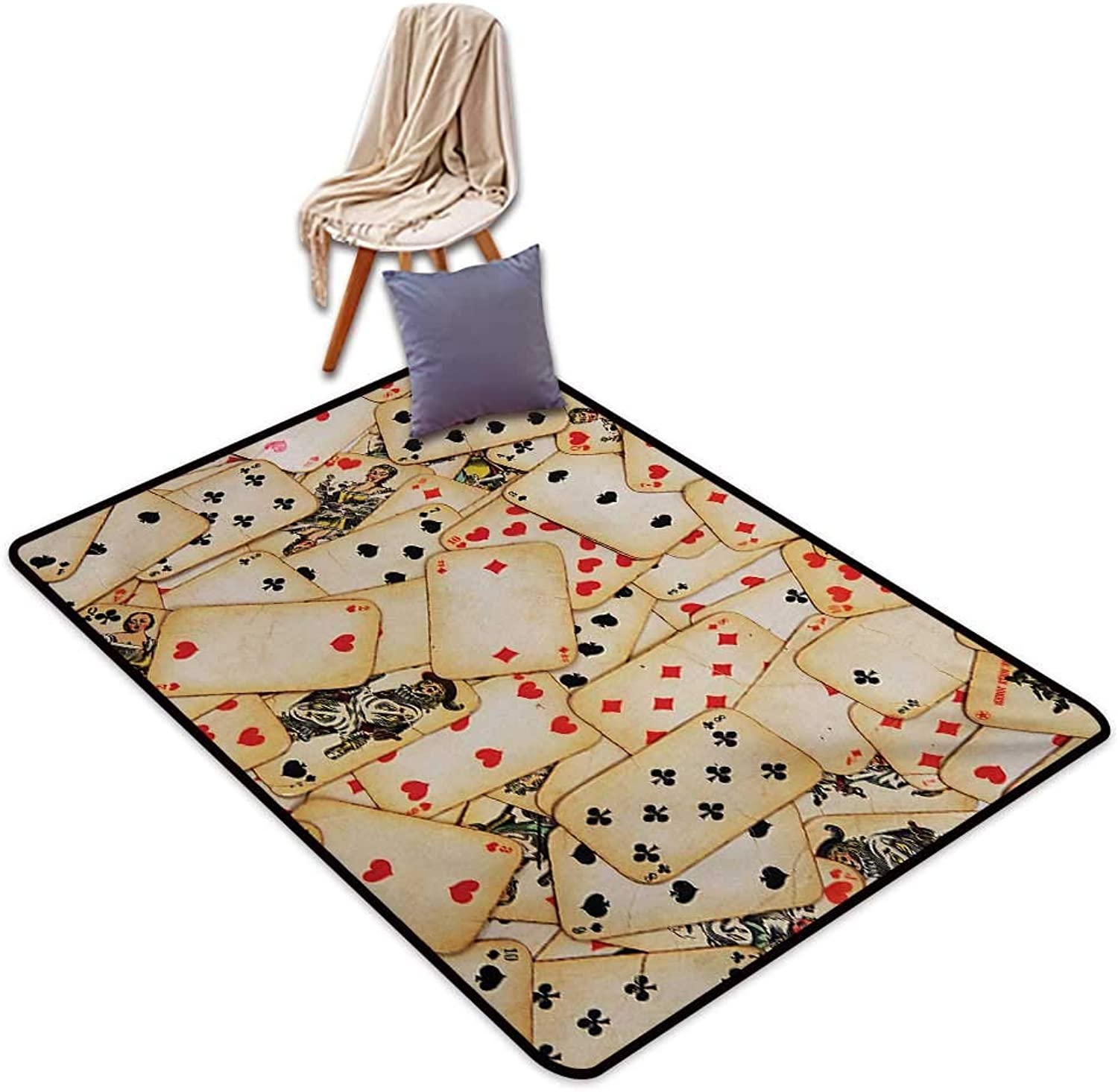 Casino Non-Slip Door mat Old Playing Cards Themed Vintage Classic Style Entertaining Wealth Fortune Water Absorption, Anti-Skid and Oil Proof 48  Wx71 L Beige Red Black