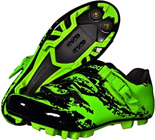 OneChange Mountain Bike Shoes, Mens Breathable Anti-Skid Cycling Shoes Lock System Bicycle Spinning Shoes for Mountain Road Riding (Color : Green, Size : 5.5 UK)