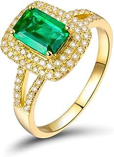 Daesar Anelli Oro Giallo 18K, Anello Matrimonio Donna Forma Rettangolare Smeraldo 1.23ct con Diamante 0.38ct Anelli in Oro...