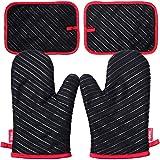 Deik Gants de four et maniques, gants résistant à la chaleur jusqu'à 300 ℃, gants de silicone antidérapants pour gril, adaptés pour la cuisson, la cuisson, le grillage, Noir