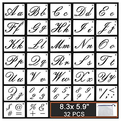 Guwheat Plantillas de letras en madera, plantilla reutilizable de 32 piezas con caligrafía, letras mayúsculas y minúsculas, números y signos, con bolsas portátiles, 21 x 15 CM