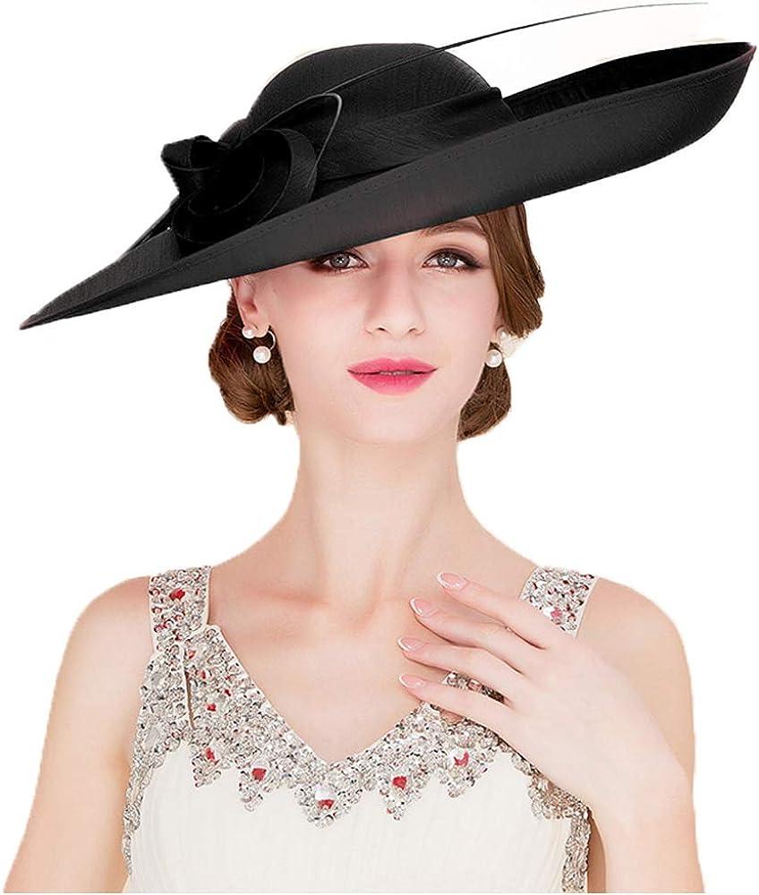 F FADVES Royal Ladies Sinamay Weddings Hats Fascinators Big Brim Kentucky Derby Church Fedoras Hat