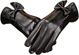Womens Leather Gloves Ladies Soft Warm Velvety Lining Winter Gloves Touch Screen Mittens with One Bow Decoration (Black)