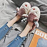 ypyrhh de casa Suaves y cómodas Zapatillas,Furry Home Cotton Shoes, Couple Platform Heel Slippers-Wine Red_40-41