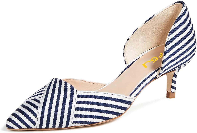 FSJ Women Casual Low Kitten Heel D'Orsay Pumps Pointed Toe Slip On Office Ladies Dress Braid shoes Size 4-15 US