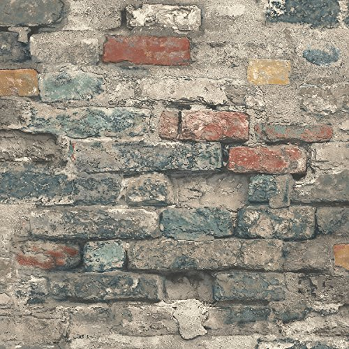 RoomMates Brick Alley Peel and Stick Wallpaper, Teal, 20.5' x 16.5 feet - RMK11080WP