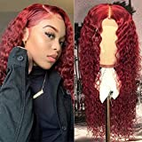 Unextar Glueless 99J 13X4 Lace Front Human Hair Wig with Baby Hair Preplucked Deep Curly Red Brazilian Remy Hair Middle Part Lace Front Wig For Women (16 Inch, 130% 13X4 Lace Front Wig)…