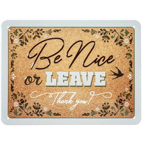 Nostalgic-Art Retro Blechschild Word Up – Be Nice or Leave – Geschenk-Idee für Nostalgie-Fans, aus Metall, Vintage-Design mit Spruch, 15 x 20 cm