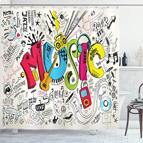 Musik Vorhang für die Dusche von ambesonne, Pop Art Doodle Stil Musical Hintergr& mit Instrumente So& Art Illustration, Stoff Badezimmer Decor Set mit Haken, 213,4cm Extra Lang, Multi