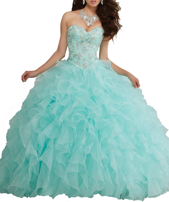 HSDJ Women's Sweetheart Beading Ruffled Sweet 16 Ball Gowns Quinceanera Dresses