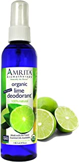 AMRITA Aromatherapy: Organic Lime Deodorant Spray - All Natural PARABEN Free Body Odor Eliminator, NON-GMO & 100% Natural Essential oil Blend - SIZE: 4oz