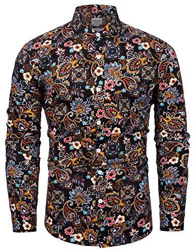 TUNEVUSE Mens Paisley Shirt Long Sleeve Retro Floral Print Casual Button Down Shirt Cotton Black Paisley Print Medium