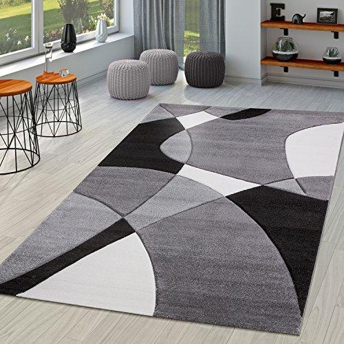 TT Home Tappeto di Design Moderno con Motivo Geometrico dal Taglio Sagomato in Nero e Bianco, Größe:60x110 cm
