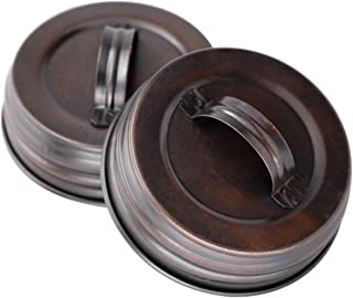Oil Rubbed Bronze Canister Lid With Handle For Mason Jars (4 Pack, Regular Mouth)