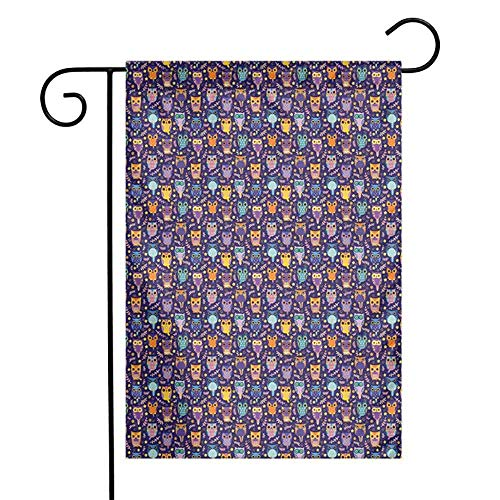 Hiboux Summer Holiday Double Face Garden FlagLeafy Branches and Little Stars Sweet Comic Birds Colorful Rich Romantic Ornaments Holiday Double Sided Garden Flag12.5 'x 18' inch Multicolor