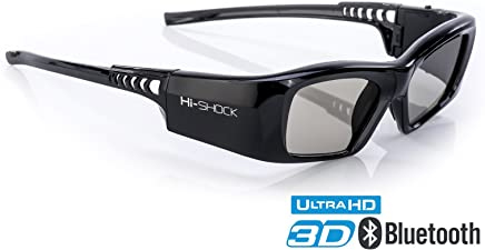 Samsung-Compatible Hi-Shock 3D Active Glasses   Rechargeable   for 2013-2018 Samsung Sharp LG Plasma PANASONIC Sony Full HD/HDR/4k TV   Black Diamond
