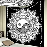 ROMANTIC BEAR Yin Yang Tapisserie, Mandala Noir et Blanc Indien Mandala Traditionnel Hippie Tenture Murale Bohème Couvre-lit