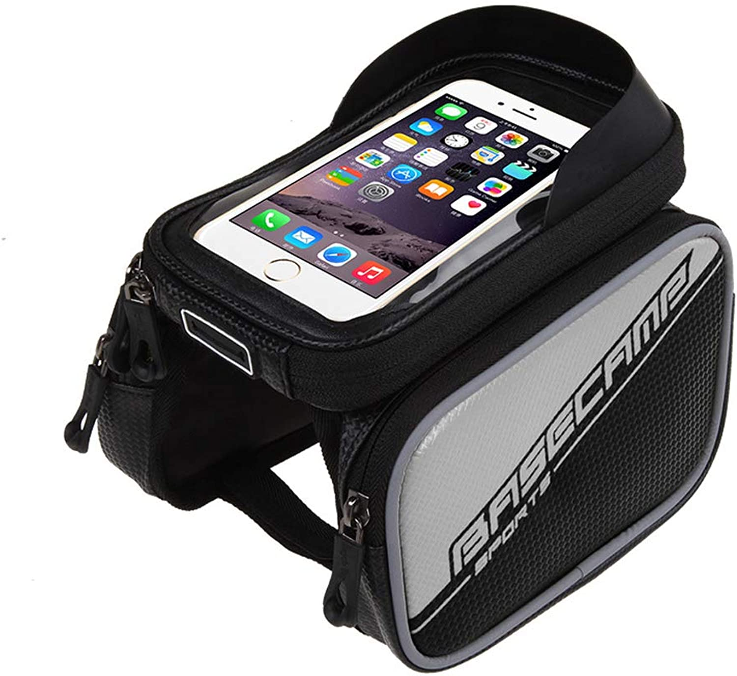 Bicycle Front Tube Bag, Waterproof Bicycle Frame Package Touch Screen Mobile Phone Storage Bag, Suitable for 6 inch