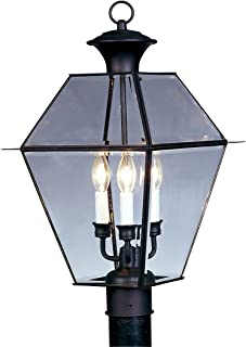 Livex Lighting 2384-04 Westover 3 Light Outdoor Black Finish Solid Brass Wall Lantern with Clear Beveled Glass