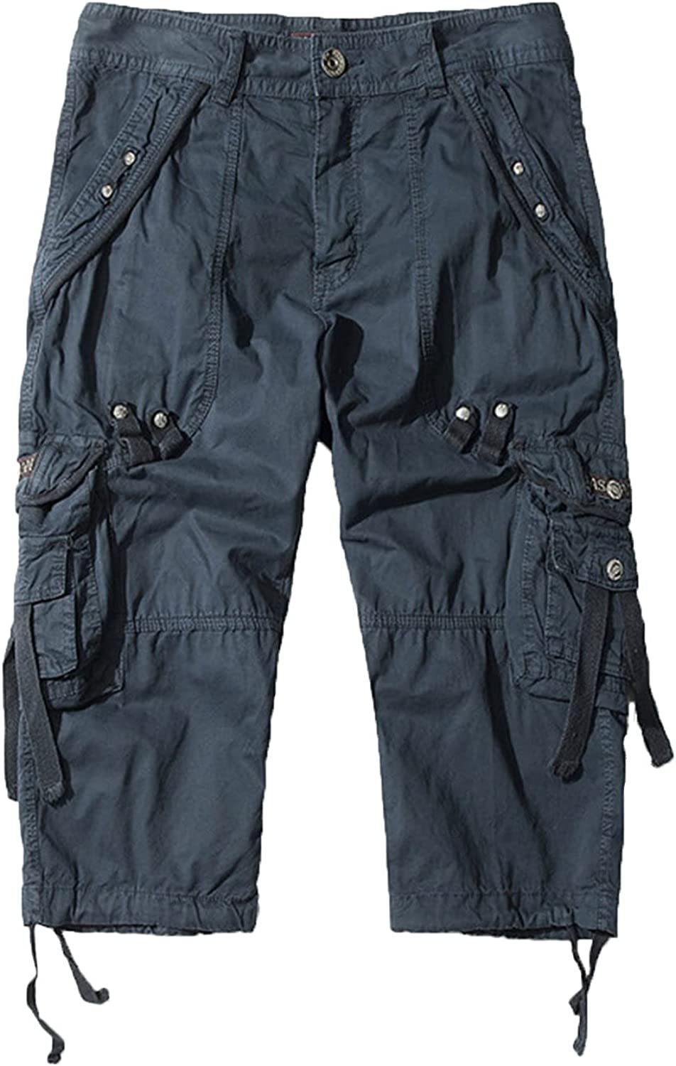 Men's Casual Straight Workout Cargo Short Multi Pockets Durable Baggy Work Short-pant Below Knee Long Loose Shorts