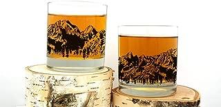 Whiskey Glasses - Mountain Range - Set of Two 11oz. Tumblers