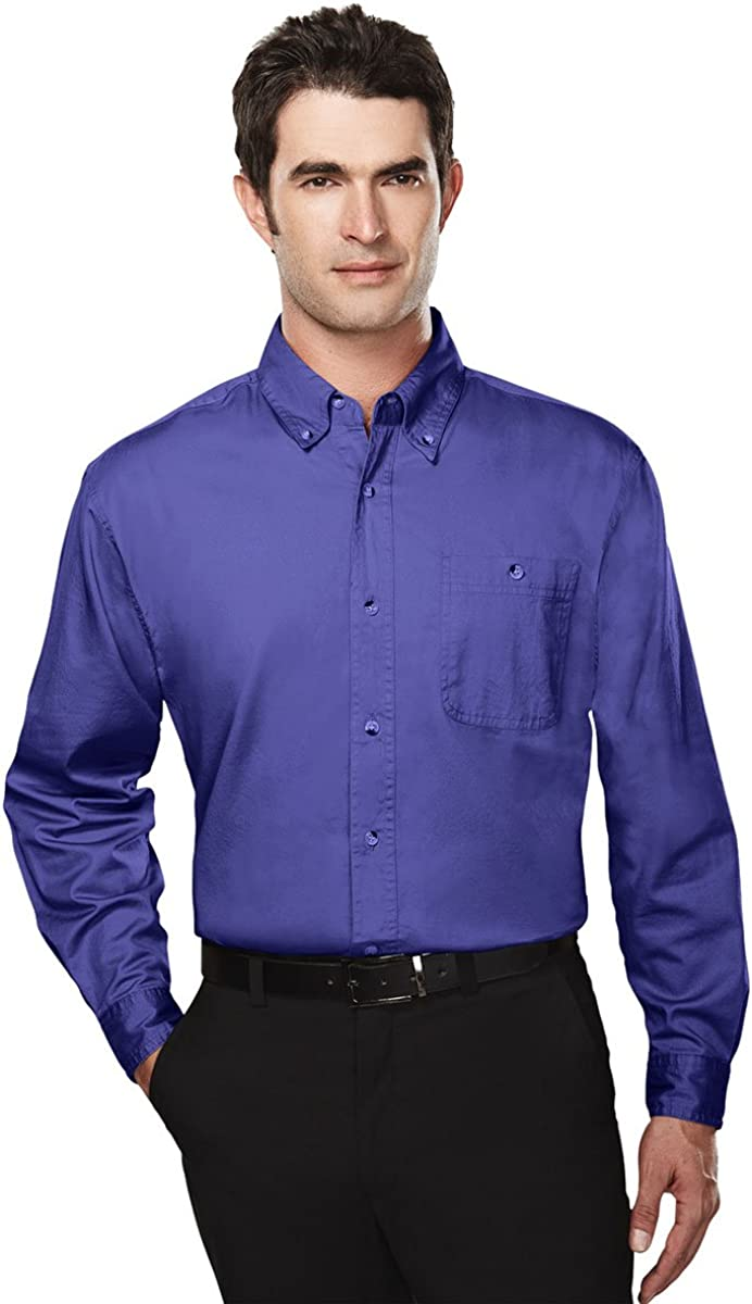Tri-Mountain Big and Tall 6 oz. Cotton Long Sleeve Twill Shirt Purple