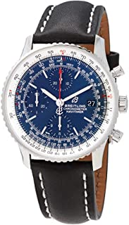 Breitling Navitimer 1 Chronograph 41 Blue Dial Steel Watch on Black Leather Strap A13324121C1X1