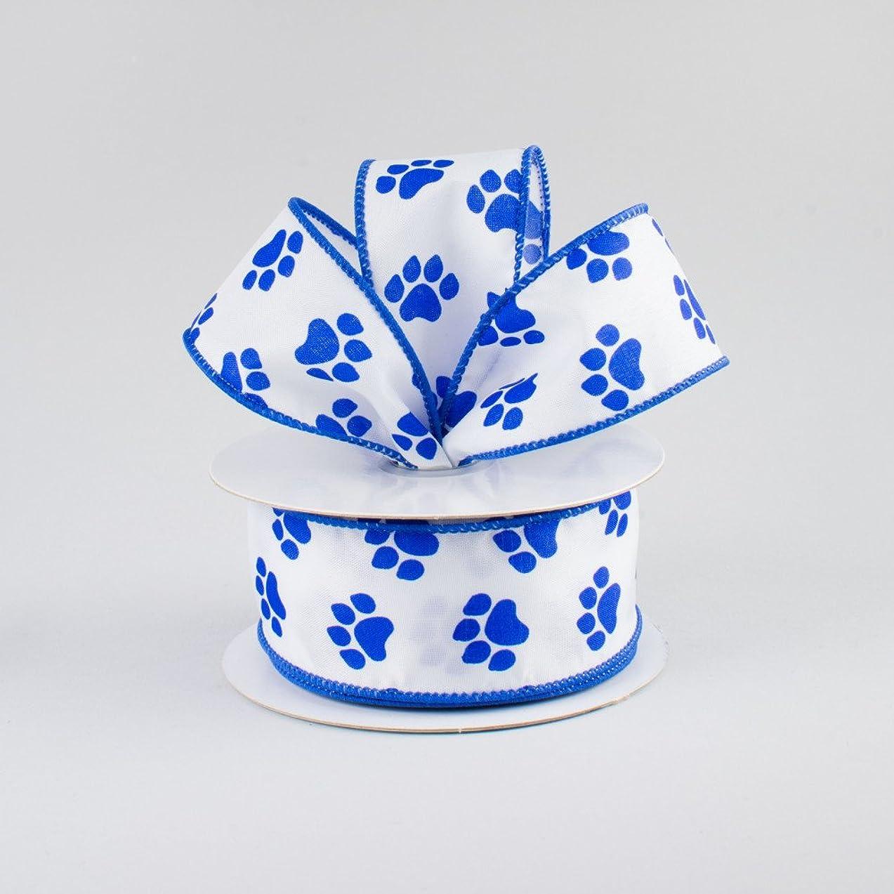 White Satin with Blue Paw Prints 1.5