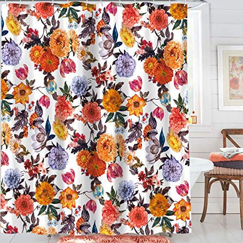 Neasow Boho Floral Shower Curtains for Bathroom, Colorful Fabric Blossom Shower Curtain Set with 12 Hooks, Multi Red