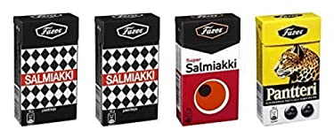 4cajas x 38g de Fazer Super salmiakki Mix–Original–Finnish–Salty Regaliz–Salmiak–salmiac–Pastilles–lozenges–Dragees–Gotas–Caramelos–Caramelos