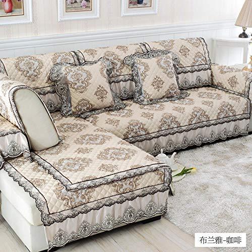 nohbi Sofa elastische Stretch Sofabezug,Europäische Vier Jahreszeiten Universal Stoff Sofa Bezug,Spitze Rand rutschfeste Kissen Sofa Towel-Coffee_90×90cm,Sofabezug Weich Stoff