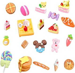 20 pcs 3D Slime Charm Slices Resin Flatback Dessert Bead Button Cake Ice Cream Bread Donut Macarons, Fruit Pineapple Sweets Lollipop Bear for DIY Scrapbooking Embellishment Phonecase Hair Clip Jewelry