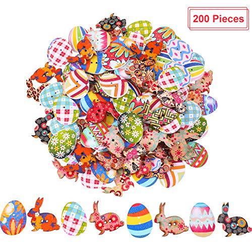 Yaomiao 200 Pezzi Bottoni di Pasqua in Legno Pasquali Coniglietto Uovo Bottoni per la Decorazione di Pasqua e Progetti Fai da Te, Multi-Colore