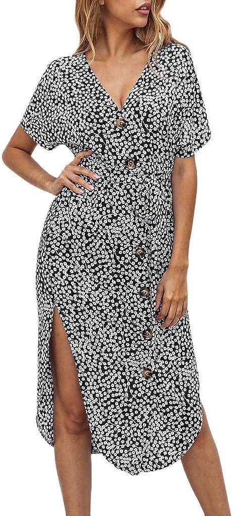 WYTong Summer Women's Sexy Print Polka Dot Split v Neck Short Sleeve Button Irregular Dress Slim Evening Gown