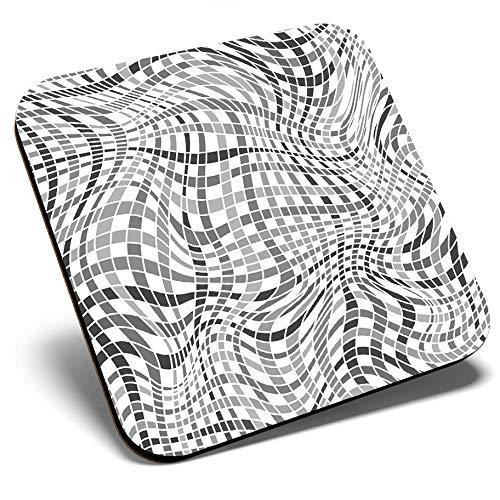 Gran posavasos cuadrado BW – brillante patrón psicodélico Hippy | Posavasos de calidad brillante | protección de mesa para cualquier tipo de mesa #35762