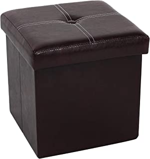 B FSOBEIIALEO Folding Storage Ottoman, Faux Leather Footrest Seat Coffee Table Toy Chest Kids, Brown 11.8