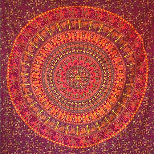 momomus Tapiz Mandala Indio - 100% Algodón, Grande, Multiuso - Pareo/Toalla de Playa Gigante - Manta de Picnic Ligera o Alfombra Antiarena XXL - Naranja, 210x230 cm