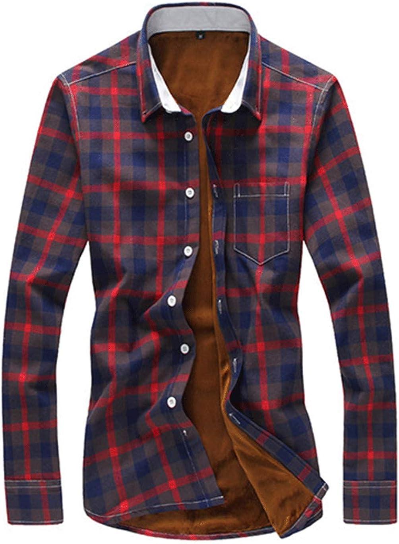 Haellun Men's Long Sleeve Winter Fleece Sherpa Lined Flannel Plaid Shirt Jacket