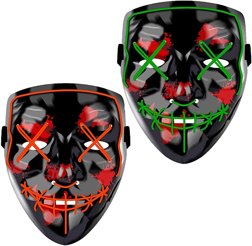 Halloween Mask LED Light up Mask Scary mask for Festival Cosplay Halloween Costume Masquerade Parties,Carnival 2 Pack