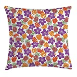 FPDecor Pineapple Kissenbezug mit Reißverschluss, Lively Colored Print Natural Leaves Hibiscus...