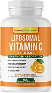 POTENT NATURALS - LIPOSOMAL VITAMIN C 1200MG | 180-Veggie Capsules | Extra Strength High Absorption & Fat-Soluble Vit C | Collagen Booster & Powerful Immune Support | Non-GMO, Gluten Free |Made in USA