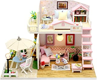 TODY Pink DIY Miniature Dollhouse Kit for Adults with Furniture Romantic Artwork Gift Mini Wooden Dollhouse with Led Light...