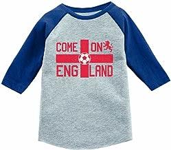 Come On England Soccer Fans UK Flag 3/4 Sleeve Baseball Jersey Toddler Shirt