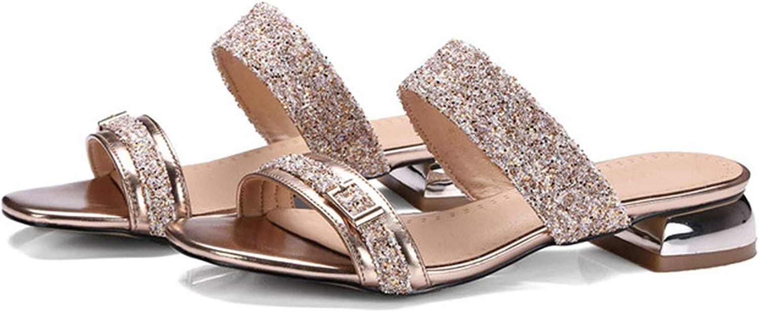Alerghrg Slides Glitter Low Heel Slippers Causal Beach shoes Ladies Sandals gold Green Large Size 9 10