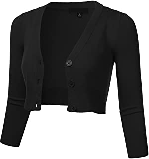 FLORIA Women's Solid Button Down 3/4 Sleeve Cropped...