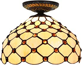 Tiffany Ceiling Fixture Lamp Semi Flush Mount 12 Inch Stained Glass Lampshade with Stained Glass Beads for Dinner Room Liv...