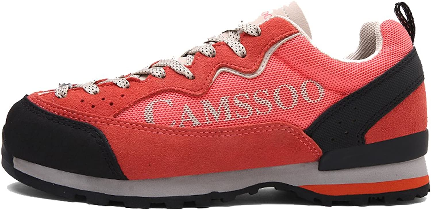 CAMSSOO Womens Outdoors Casual Leather Mesh Anti-Slip Hiking Walking Running shoes