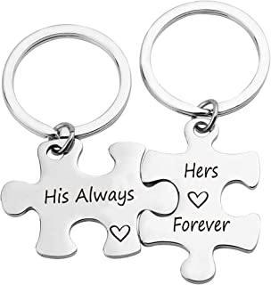 ZNTINA His Always Hers Forever Couple Keychain Puzzle Pieces Gift Valentine's Day Jewelry Gift for Lovers