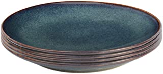 ProCook Vaasa - Vaisselle de Table en Grès - 4 Pièces - 20cm - Petite Assiette - Glaçure Réactive - Bleu